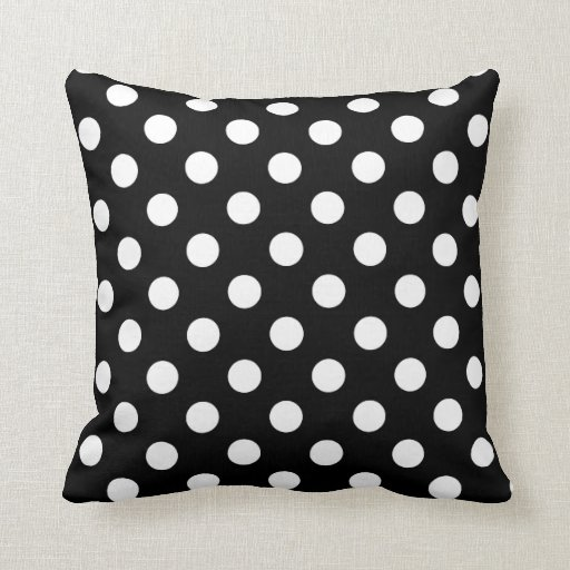 black and white polka dot throw pillows custom zazzle. Black Bedroom Furniture Sets. Home Design Ideas