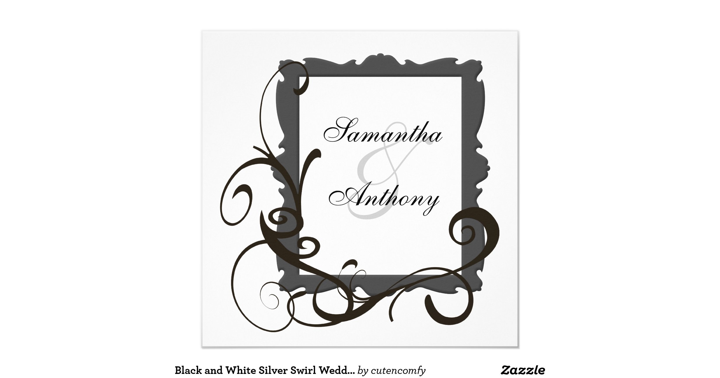 Black And Silver Wedding Invitations: Black_and_white_silver_swirl_wedding_invitations