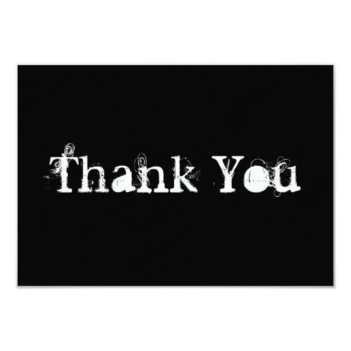 Black and White Simple Grungy Thank You Card | Zazzle