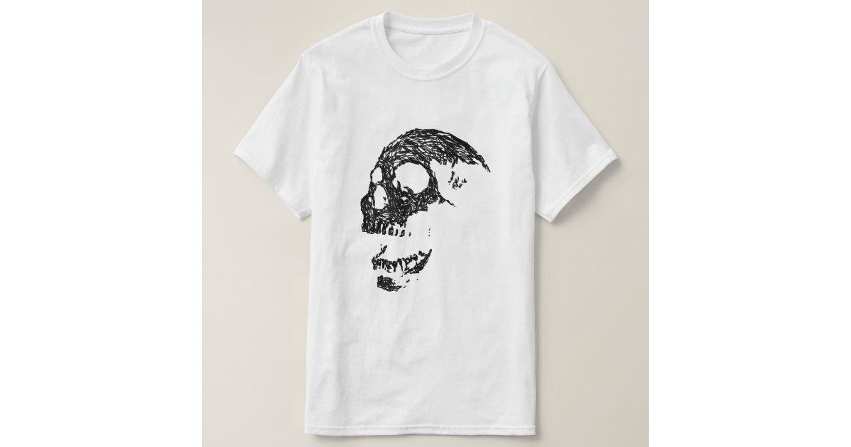 Black and White Skull Design. T-Shirt   Zazzle