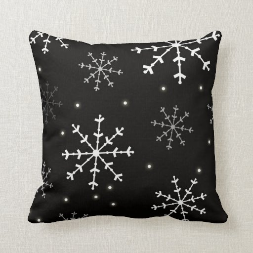 black and white snowflake pillow zazzle. Black Bedroom Furniture Sets. Home Design Ideas