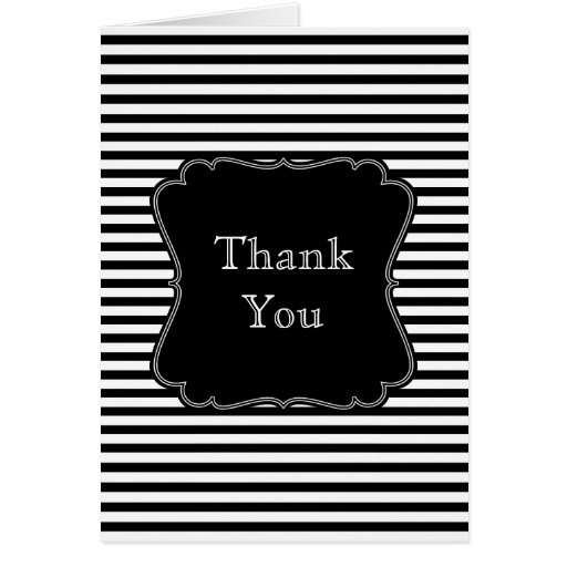Black and White Stripes thank you Card | Zazzle
