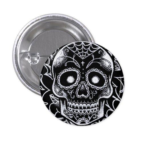 Black and White Sugar Skull Tattoo Flash Pins   Zazzle