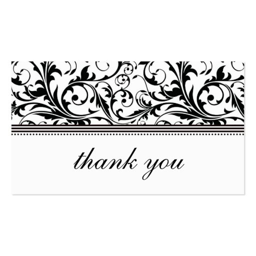 Black and White Swirl Thank You Card Double-Sided Standard ...