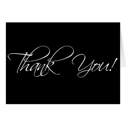 Black and White Thank You Cards Fancy Script | Zazzle