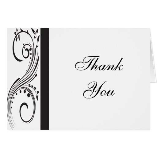 Black and White Thank You Note Card | Zazzle
