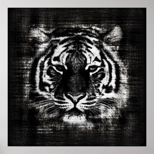 black and white tiger vintage posters zazzle. Black Bedroom Furniture Sets. Home Design Ideas