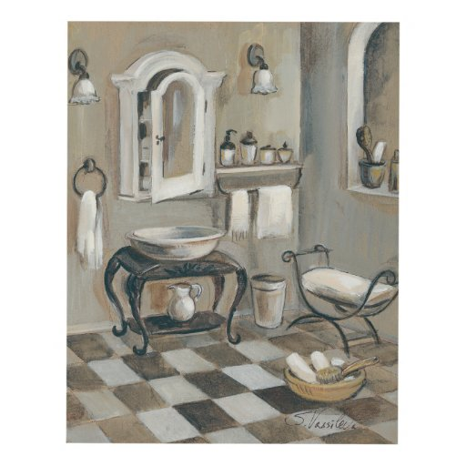 Black And White Tiled French Bathroom Panel Wall Art