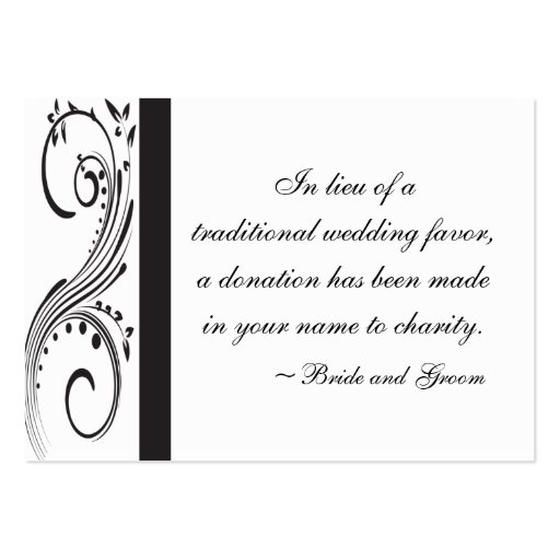 Black And White Wedding Charity Favor Card Business Cards