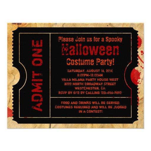 Paper Blood Splatter Halloween Ticket 4.25x5.5 Paper