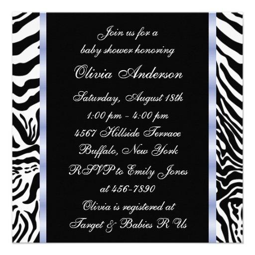 Black Blue Zebra Baby Boy Shower Invitations