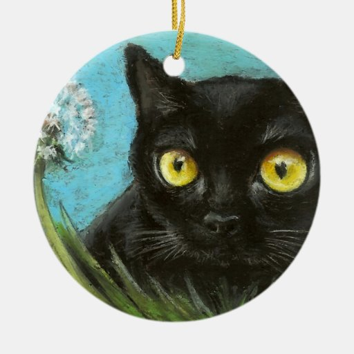 Christmas Tree Made Of Black Cats: Black Cat Double-Sided Ceramic Round Christmas Ornament