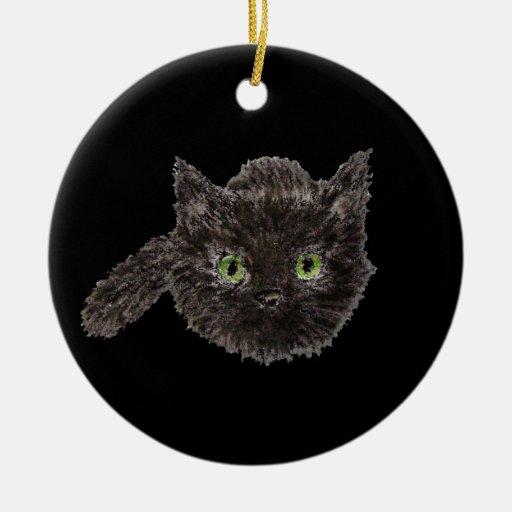 Christmas Tree Made Of Black Cats: Black Cat Lucky Charm Ceramic Ornament