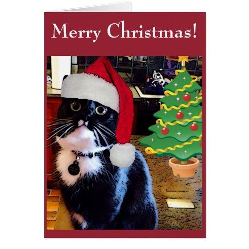 "Christmas Tree Made Of Black Cats: Black Cat ""O Christmas Tree"" Card"