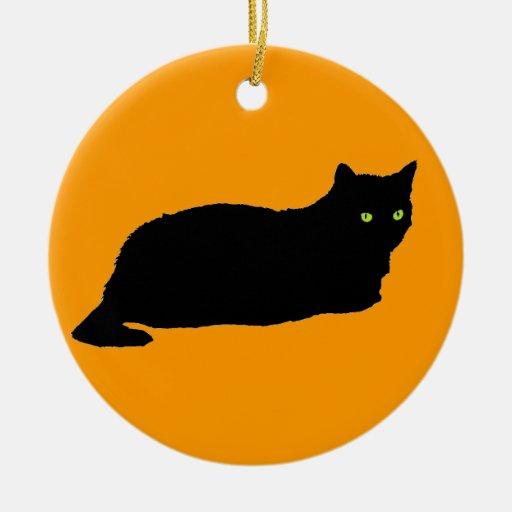 Christmas Tree Made Of Black Cats: Black Cat On Orange Christmas Tree Ornaments