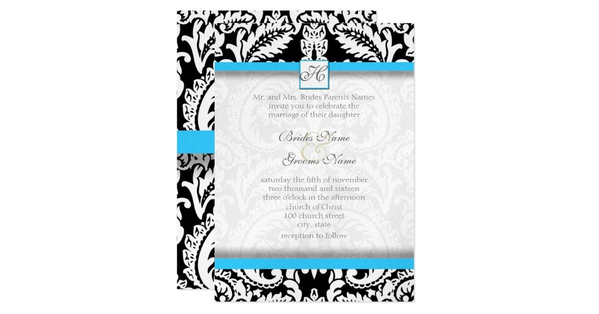 Bright Wedding Invitations: Black Damask With Bright Aqua Wedding Invitations