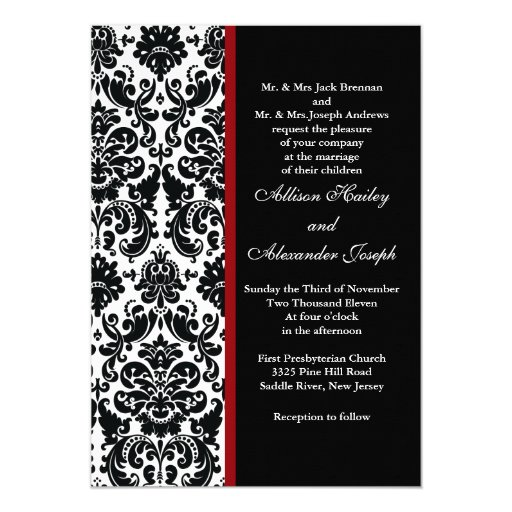 Wedding Invitations Red White And Black: Black Damask With Red Accent Wedding Invitation
