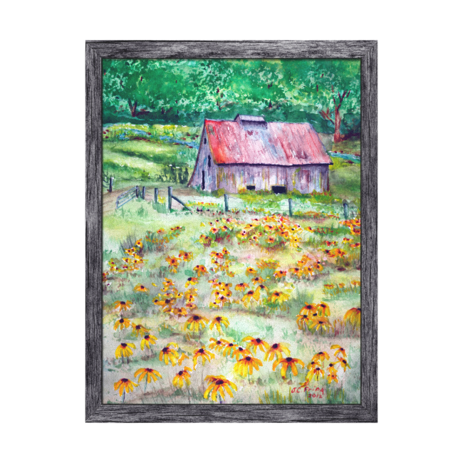 Black-Eyed Susans Wildflower Barn Watercolor Gallery Wrapped Canvas