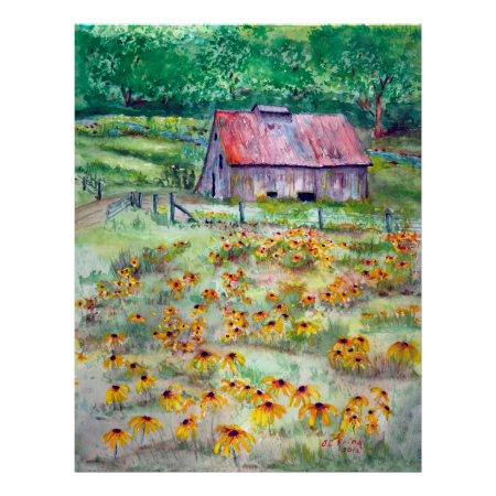 Black-Eyed Susans Wildflower Barn Watercolor Posters