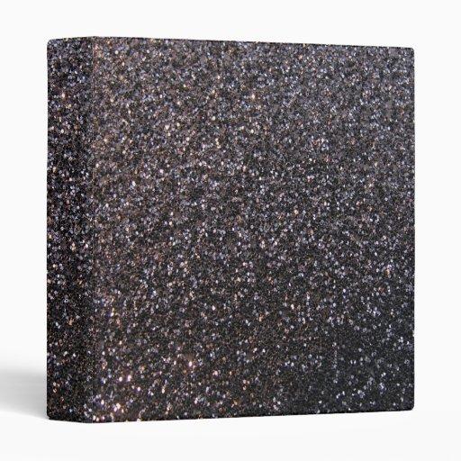 Black Faux Glitter Graphic 3 Ring Binder