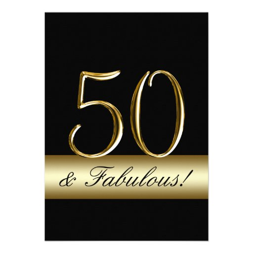 50 And Fabulous Text: Black Gold 50 And Fabulous Birthday Invites