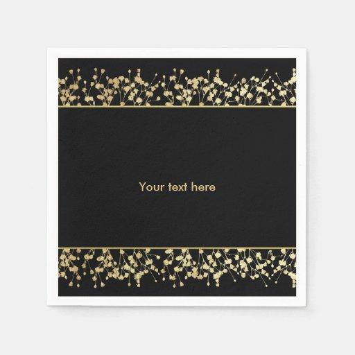 Black And Gold Beverage Napkins: Black & Gold Babys Breath Wedding Napkins Standard