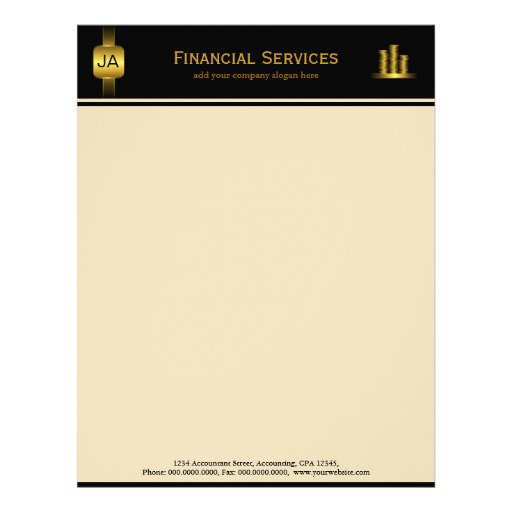 Black Gold Coins Accountant Business Letterhead Zazzle