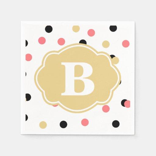 Black And Gold Beverage Napkins: Black Gold Coral Polka Dot Monogram Napkins Standard