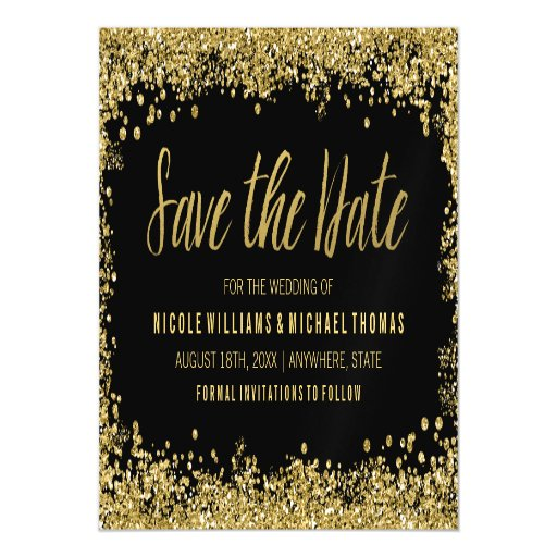 Black Gold Faux Glitter Save The Date Magnetic Card Zazzle