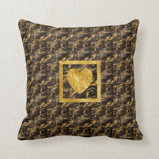 black gold throw pillow zazzle. Black Bedroom Furniture Sets. Home Design Ideas