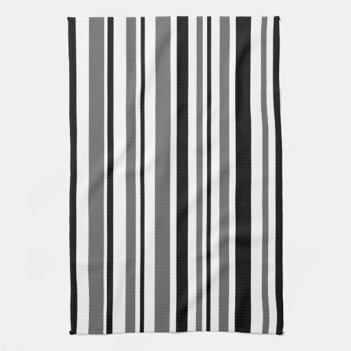 black gray and white stripes kitchen towels zazzle. Black Bedroom Furniture Sets. Home Design Ideas