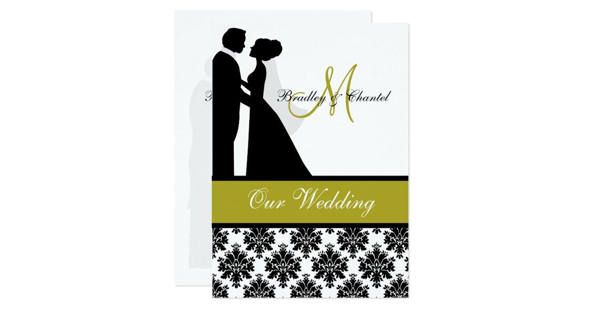White And Green Wedding Invitations: Black, Green, And White Couple Wedding Invitation