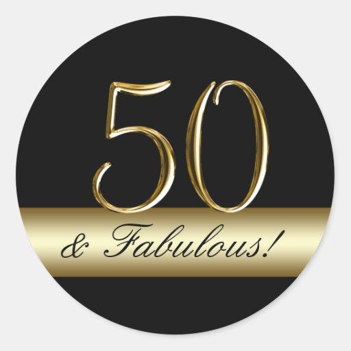 Black Metallic Gold 50th Birthday Classic Round Sticker