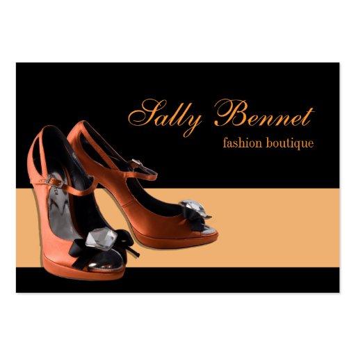 black orange shoe boutique store business card zazzle. Black Bedroom Furniture Sets. Home Design Ideas