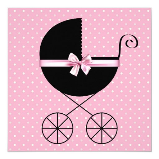 Black Pink Polka Dot Baby Shower 5.25x5.25 Square Paper