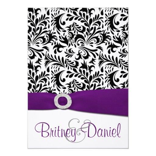 Dark Purple Wedding Invitations: Black Purple & White Damask Wedding Invitations