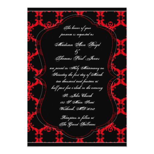 Wedding Invitations Red White And Black: Black, Red, And White Damask Wedding Invitation