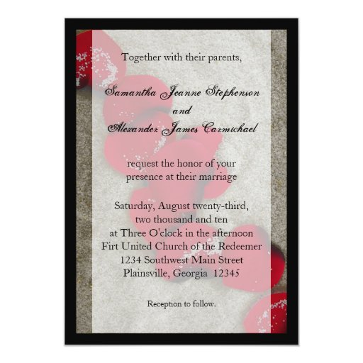 Black/ Red Rose Petals Beach Wedding Invitations