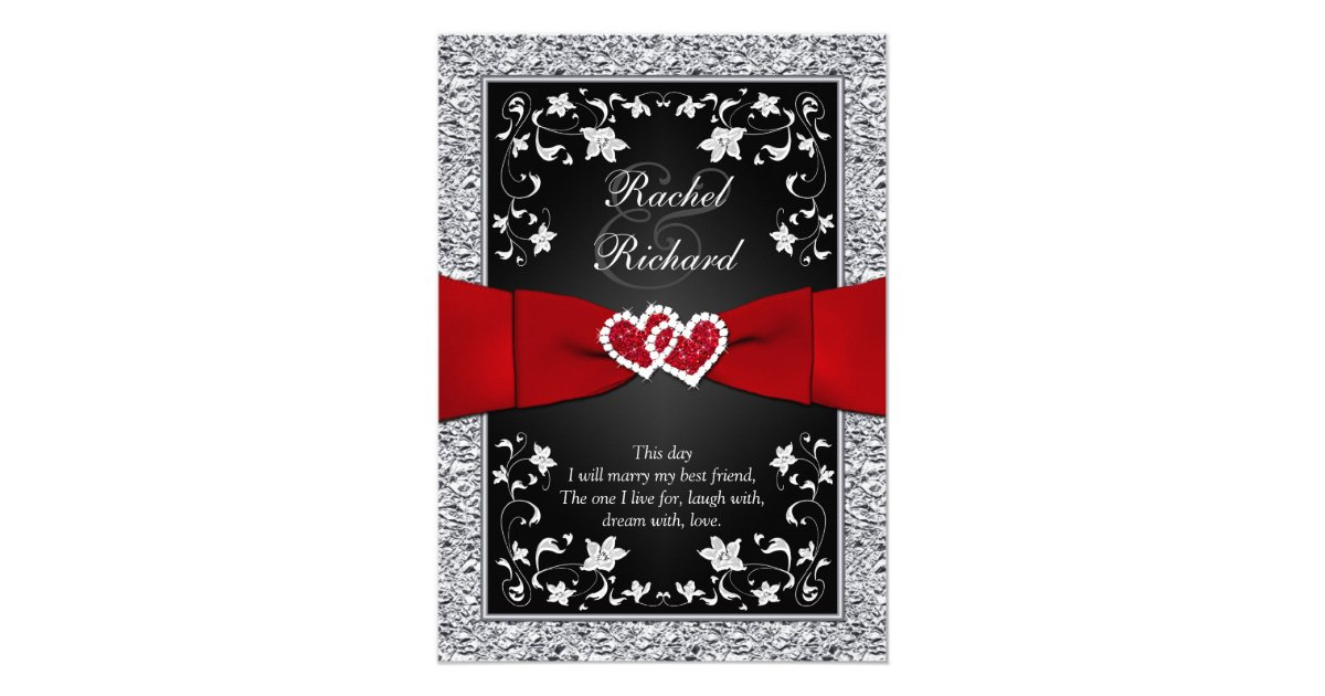Red Black And Silver Wedding Invitations: Black Silver Red Hearts, Floral Wedding Invitation
