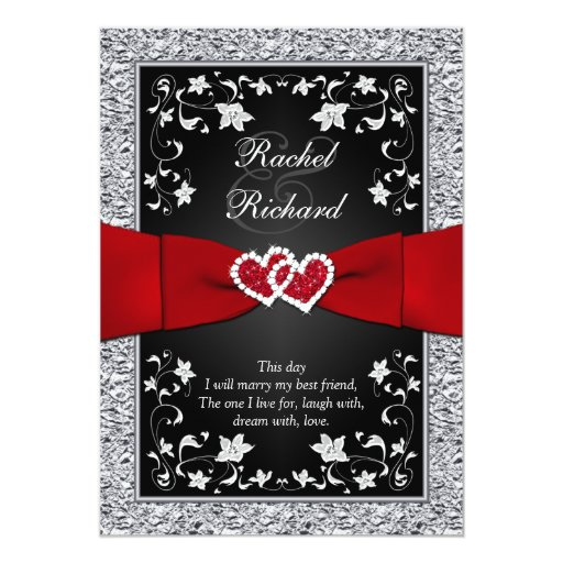Printable Wedding Invitations Designs With Red And Silver: Black Silver Red Hearts, Floral Wedding Invitation