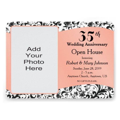 Black Swirl & Coral 35th Wedding Anniversary 5x7 Paper