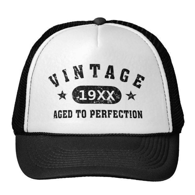 fc2f8258 Black Text Vintage Aged To Perfection Hat | Mimogifts