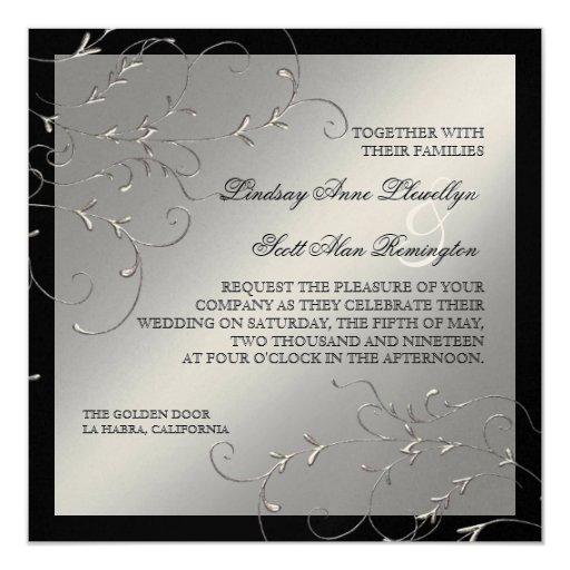 Black Tie Wedding Invitation Wording: Black Tie Elegance, Silver Wedding Invitations