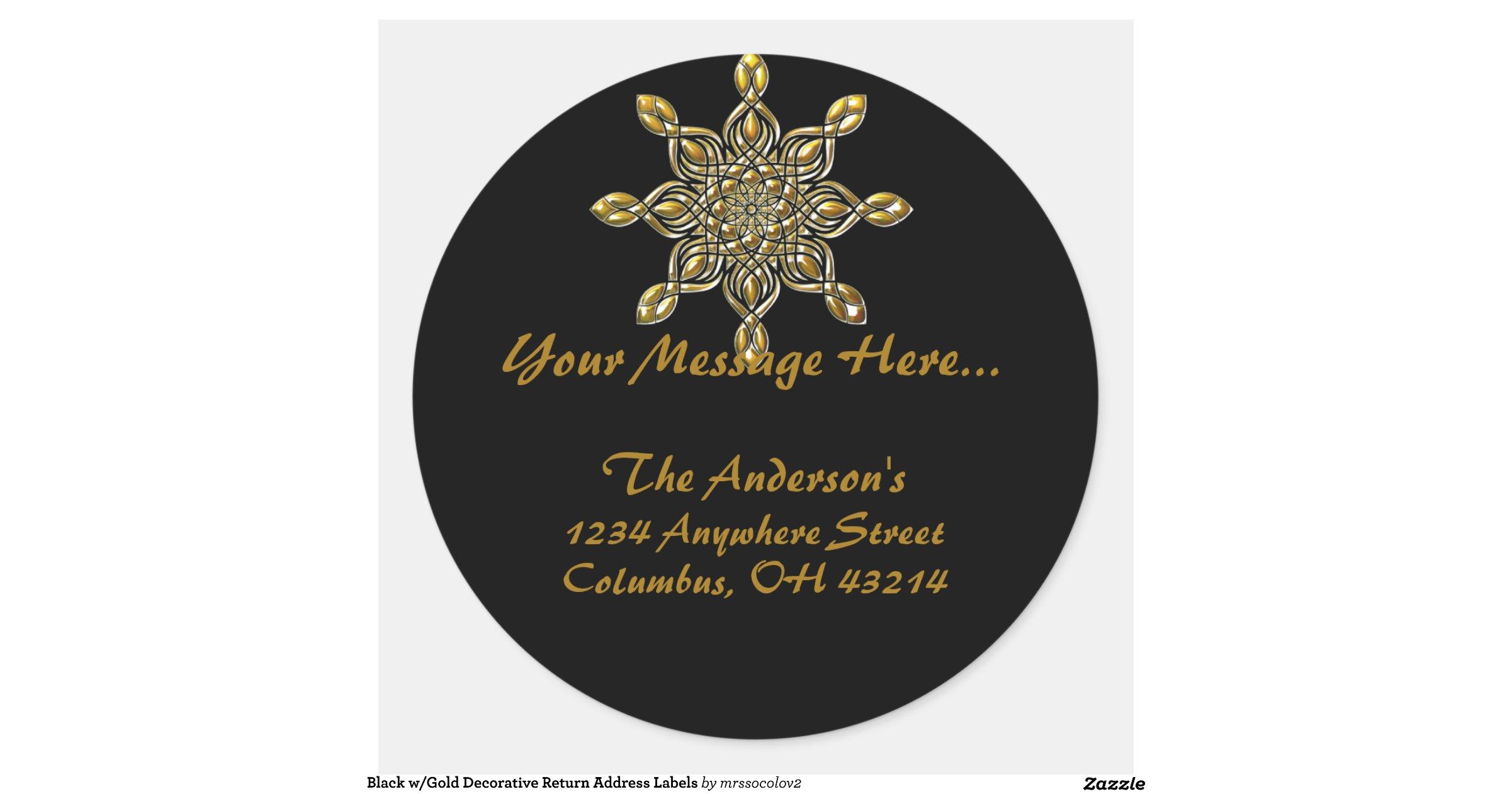 decorative return address labels black w gold decorative return