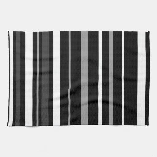 black white and grey stripes kitchen towels zazzle. Black Bedroom Furniture Sets. Home Design Ideas