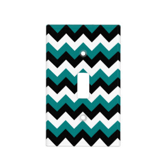 Black White And Teal Zigzag Switch Plate Covers