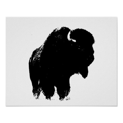 Black Amp White Bison Buffalo Silhouette Pop Art Poster Zazzle