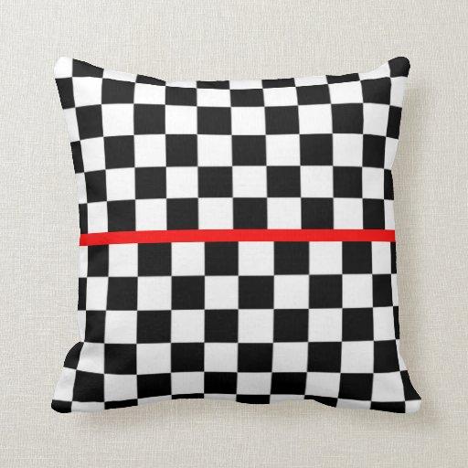 Black White Checkered Red Stripe Throw Pillow Zazzle