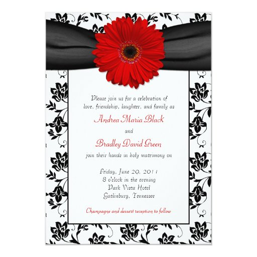 White Black Gold Daisy Wedding Invitation: Black White Damask Red Daisy Wedding Invitation