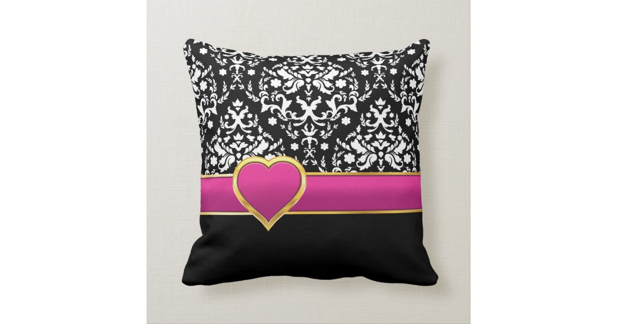 Black White Damask With Hot Pink Band And Heart Throw